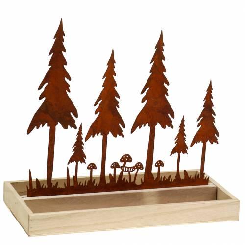 Bandeja de madera silueta de bosque óxido 30cm x 15cm