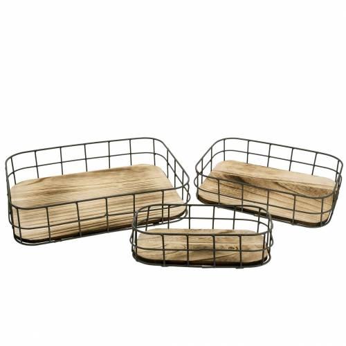 Bandeja de madera con borde de metal 45cm 35 × 25/29 × 19/42 × 14cm juego de 3
