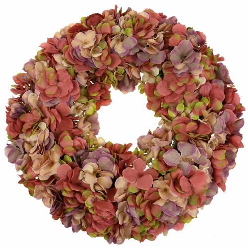 Corona de hortensias rosa antigua Ø44cm