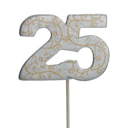 """Aniversario número """"25"""" de madera plata 36 piezas"""
