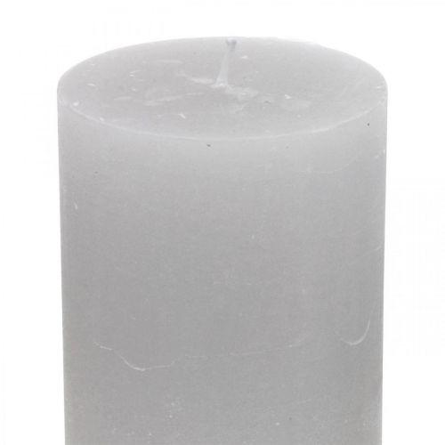 Velas de columna teñidas de gris claro 70 × 100mm 4pcs