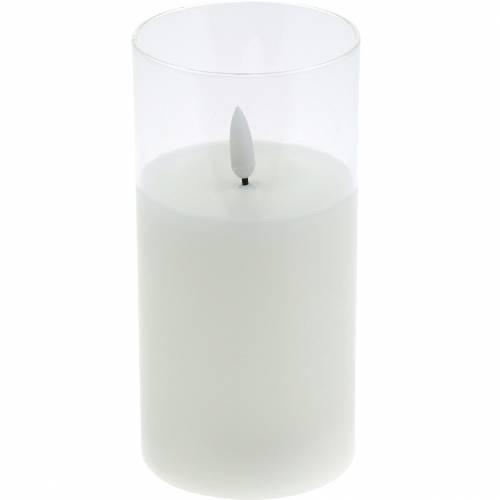 Vela LED en cristal cera real blanca Ø7.5cm H10cm