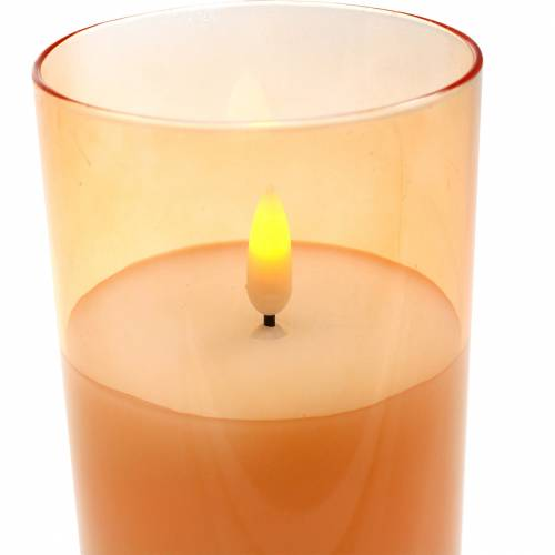 Vela LED en vidrio cera real naranja Ø7.5cm H10cm