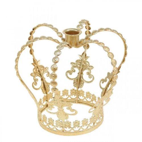 Corona de candelabro, decoración de mesa, Adviento, corona de metal Dorado Ø14cm H13cm