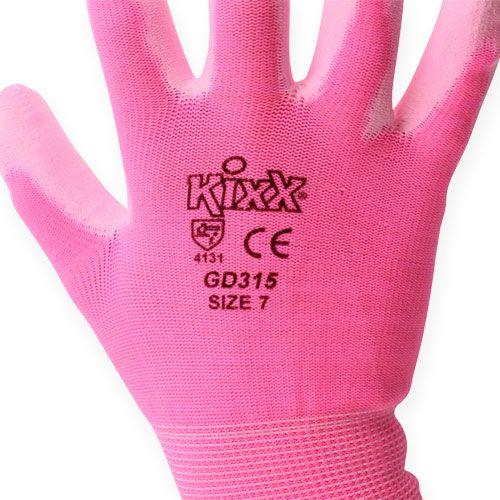 Guantes de jardinería kixx talla 7 rosa, rosa