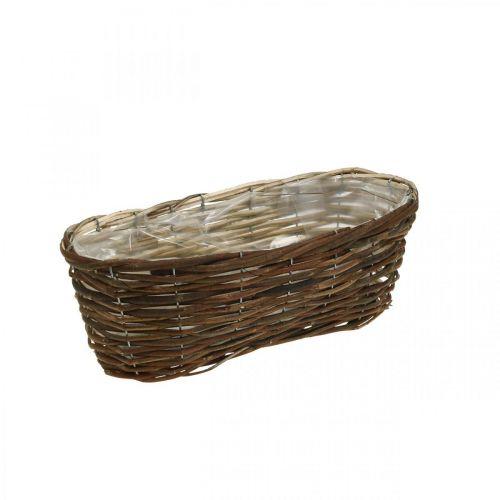 Cesta para plantar, decoraciones florales, cesta de madera natural L35cm 11.5cm