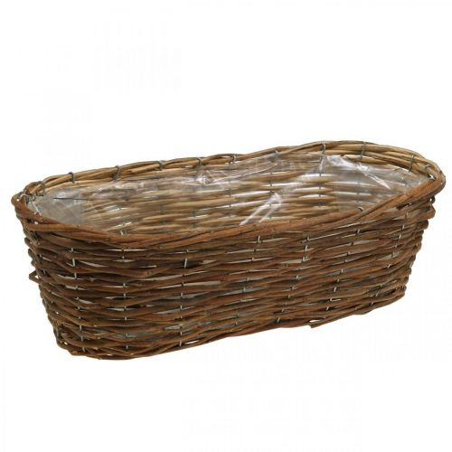 Cesta para plantas, jardinera, cuenco de cesta natural L46cm H14cm