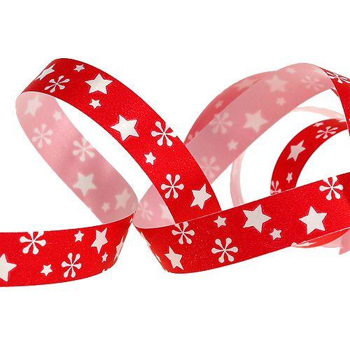 Cinta rizada roja con patrón de estrella 10 mm 150 m