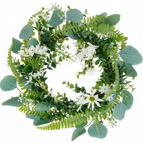 Corona de eucalipto artificial con helecho, margaritas de capa y jazmín, corona de puerta, corona decorativa, decoración de mesa