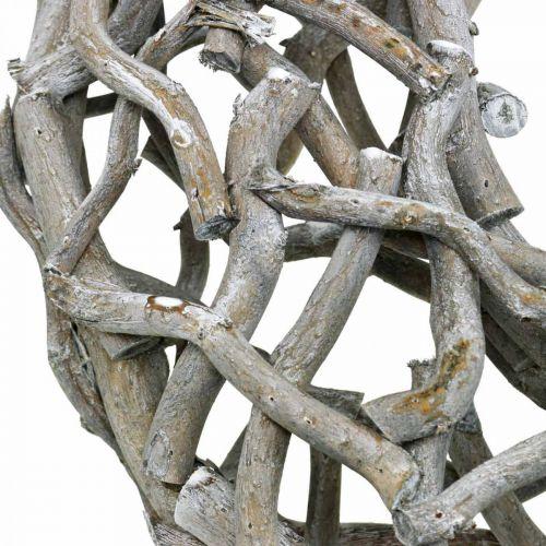 Guirnalda decorativa madera, gris encalado, guirnalda natural decoración de mesa Ø50cm