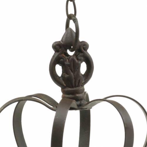 Corona de metal para colgar con ganchos marrón óxido Ø11cm H17cm