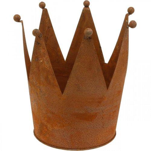 Corona de metal, decoración de jardín, pátina Ø17.5cm H17.5cm