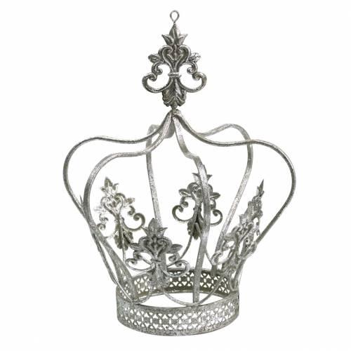 Corona decorativa de metal plateado Ø17.3cm H22.5cm