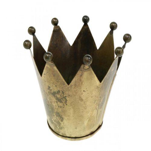 Portacandelitas corona metal aspecto latón antiguo Ø12.5cm H11.5cm