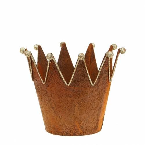 Olla decorativa Corona con pátina Color oro Ø13,5cm A11,5cm 2piezas