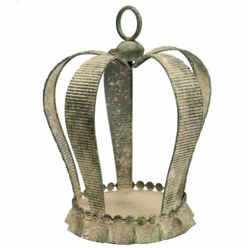 Corona decorativa metal antiguo verde musgo, beige Ø28cm H36.5cm