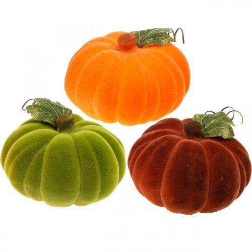 Calabaza decorativa mezcla flocada naranja, verde, rojo decoración de otoño 16cm 3 piezas