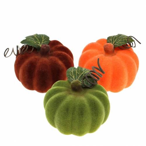 Mini calabaza flocado naranja, verde, rojo Ø9cm 6ud