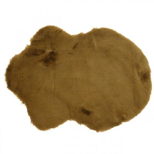 Alfombra de piel deco marrón Alfombra de piel artificial 55 × 38cm