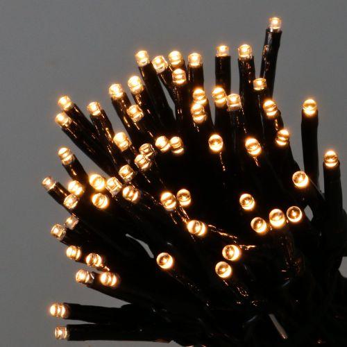 Luces de hadas LED 144er negro, blanco cálido para exteriores 1.2m