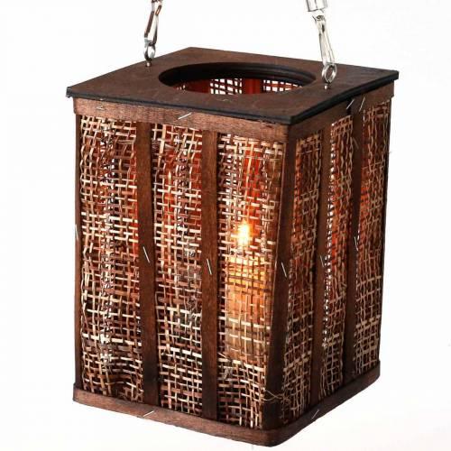 Farol con dibujo trenzado, vela decorativa para colgar, farol de madera Al 41cm