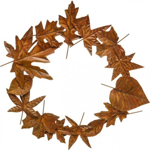 Corona de hojas, óxido noble, decoración de metal, corona, decoración de otoño, floristería conmemorativa Ø29cm