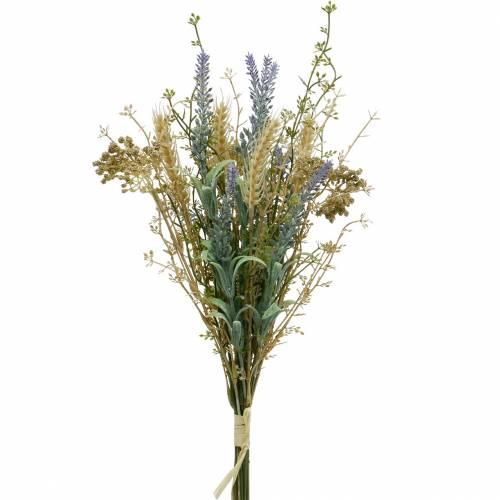 Ramo de lavanda artificial, flores de seda, ramo de lavanda de campo con espigas de trigo y reina de los prados