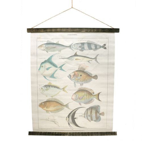 Cuadro decorativo de lino con pez 60cm x 72cm