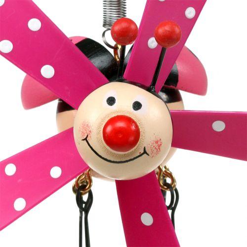 Campanas de viento mariquita madera rosa 12cm