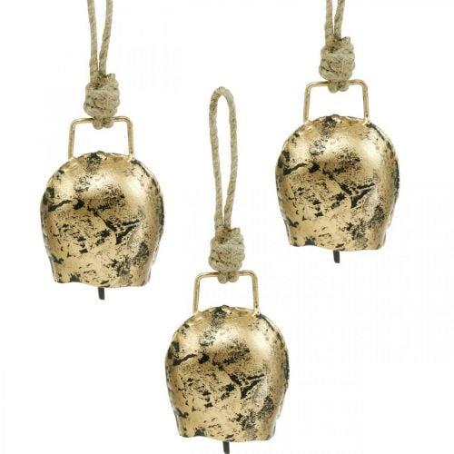 Campanas para colgar, mini cencerros, casa de campo, campanas de metal dorado, aspecto antiguo 7 × 5cm 12ud
