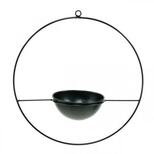 Macetero para colgar aro de metal negro Ø38cm con cuenco Ø15cm