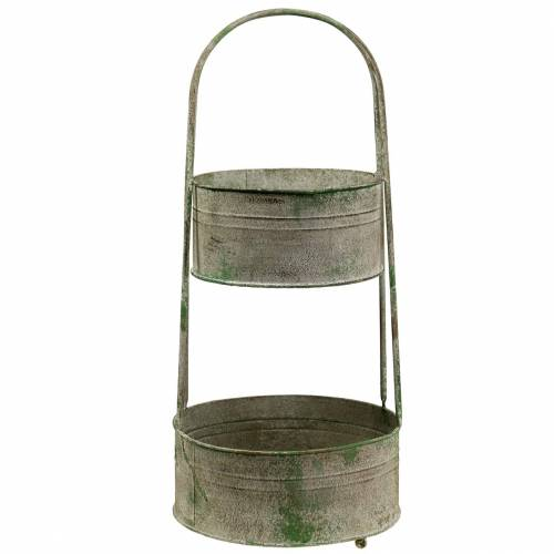 Soporte de metal con cuencos de siembra gris, verde A68cm