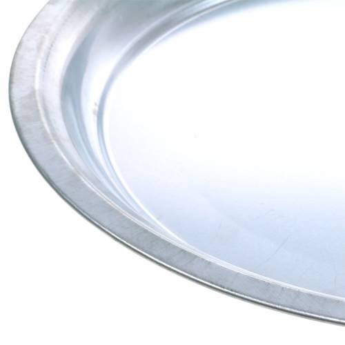 Placa metálica básica plateada brillante Ø45.5cm H4cm