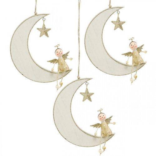 Decoración de Adviento, ángel en la luna, decoración de madera para colgar blanco, dorado H14.5cm W21.5cm 3ud