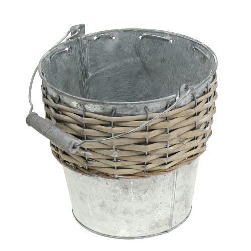 Cubo de zinc con mimbre Ø18cm H17cm