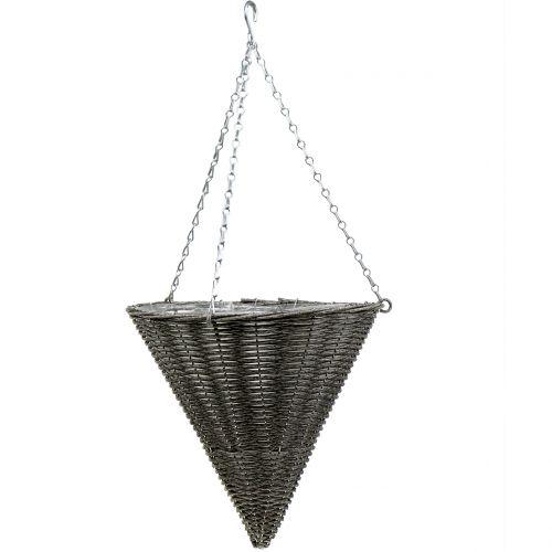 Cesta lámpara cono cono gris Ø35cm H37cm