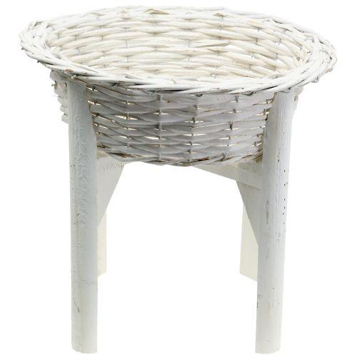 Cesta cesta con soporte de madera blanco Ø40cm H10cm