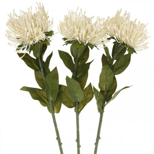 Alfiletero flores artificiales exóticas leucospermum crema 73cm 3pcs