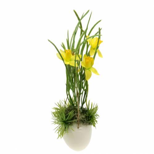 Narciso en cáscara de huevo para colgar Artificial amarillo 25cm