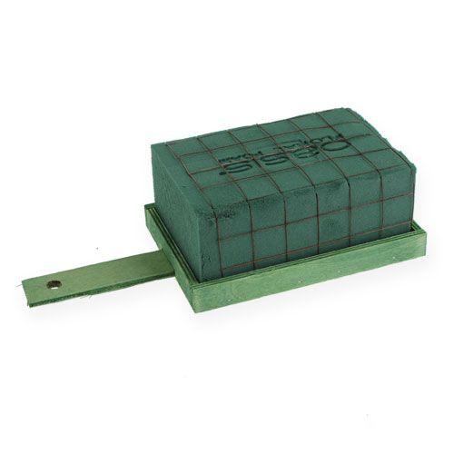 Espuma floral ladrillo verde metal madera 4 piezas arreglo armazón