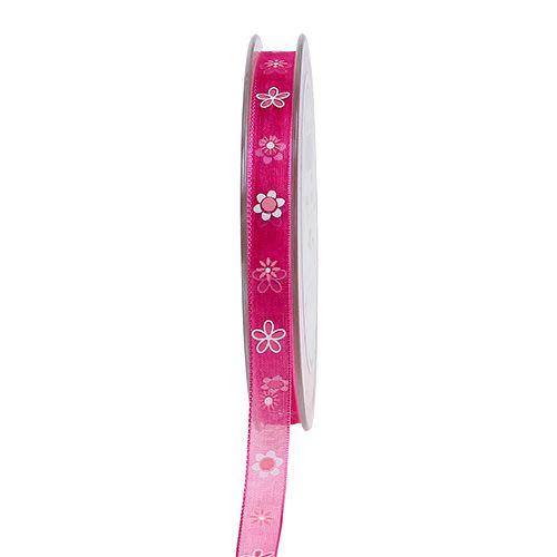 Cinta de organza rosa con patrón 10mm 20m