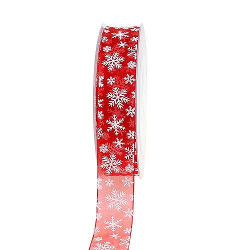 Cinta Organza Navidad Roja 25mm 20m
