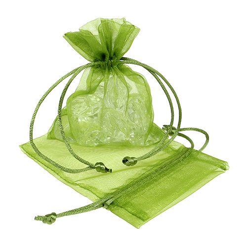 Bolsa de organza verde 12cm x 9cm 10pcs