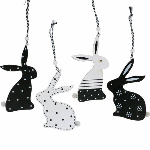 Conejito de Pascua para colgar decoración de madera en blanco y negro conejito decoración de Pascua 12pcs