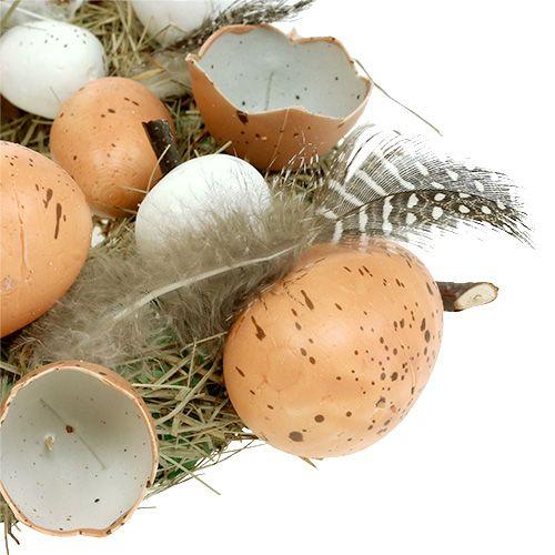 Corona de Pascua con huevos Ø24cm natural, blanco