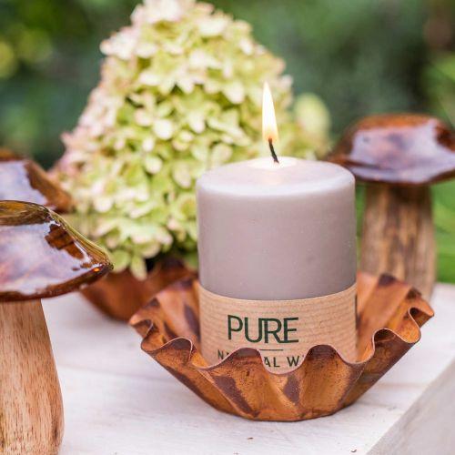 Vela pura pilar marrón 90/70 vela estearina sostenible y cera natural de colza