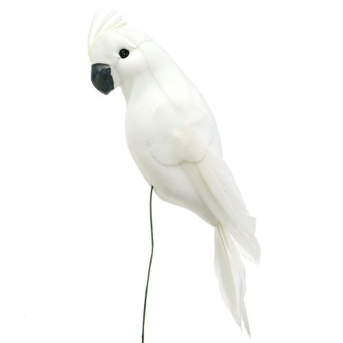 Loros con plumas blanco cacatúa artificial decoración pájaro 4pcs