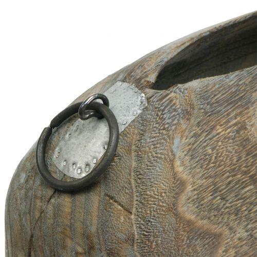 Maceta del árbol de campana azul gris lavado H18cm