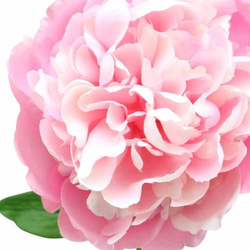 Peonía artificial con flor y capullo Rosa 68cm