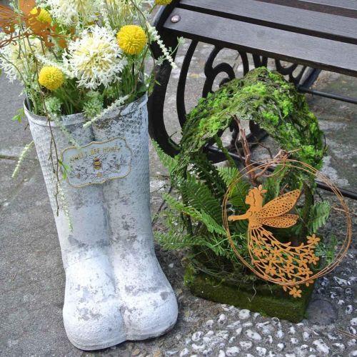 Jardinera botas abeja metal blanco vintage jardín decoración Al 31cm